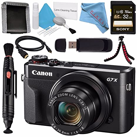 Canon PowerShot G7 X Mark II Digital Camera 1066C001 + Sony 32GB SDHC Card  + Deluxe Cleaning Kit + Memory Card Wallet + Card Reader + Micro HDMI Cable