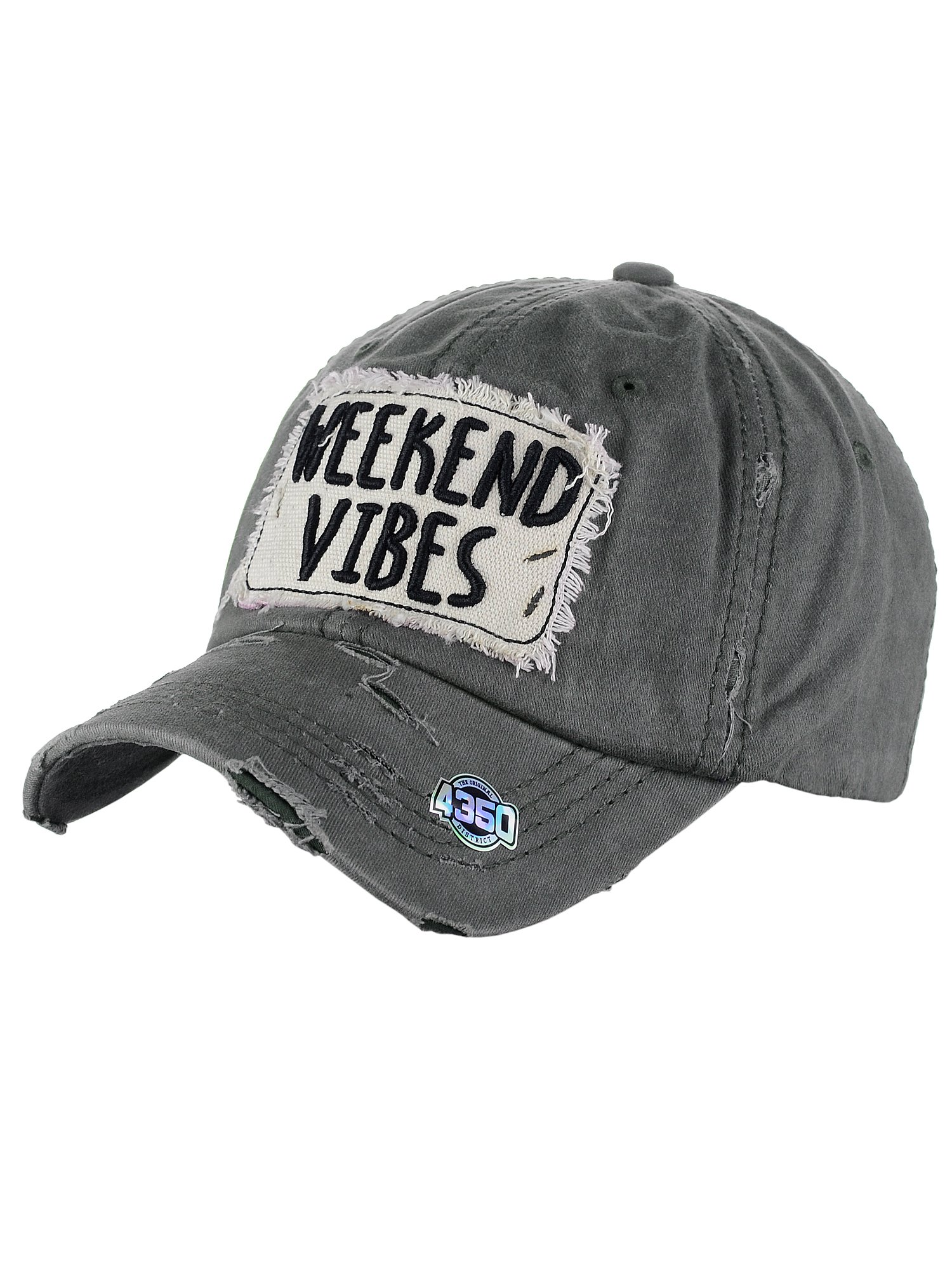 NYFASHION101 Women's Distressed Unconstructed Embroidered Baseball Cap Dad Hat, Weekend Vibes, Dk Gray