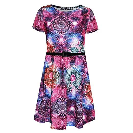 69489033a29 Amazon.com  Girls Skater Dress Kids Kaleidoscope Print Summer Party Dresses  Age 7-13 Years  Clothing
