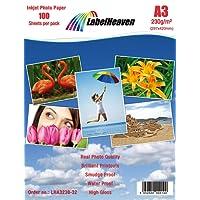 100 Blatt LabelHeaven Fotopapier A3 230g/qm hochglänzend wasserfest