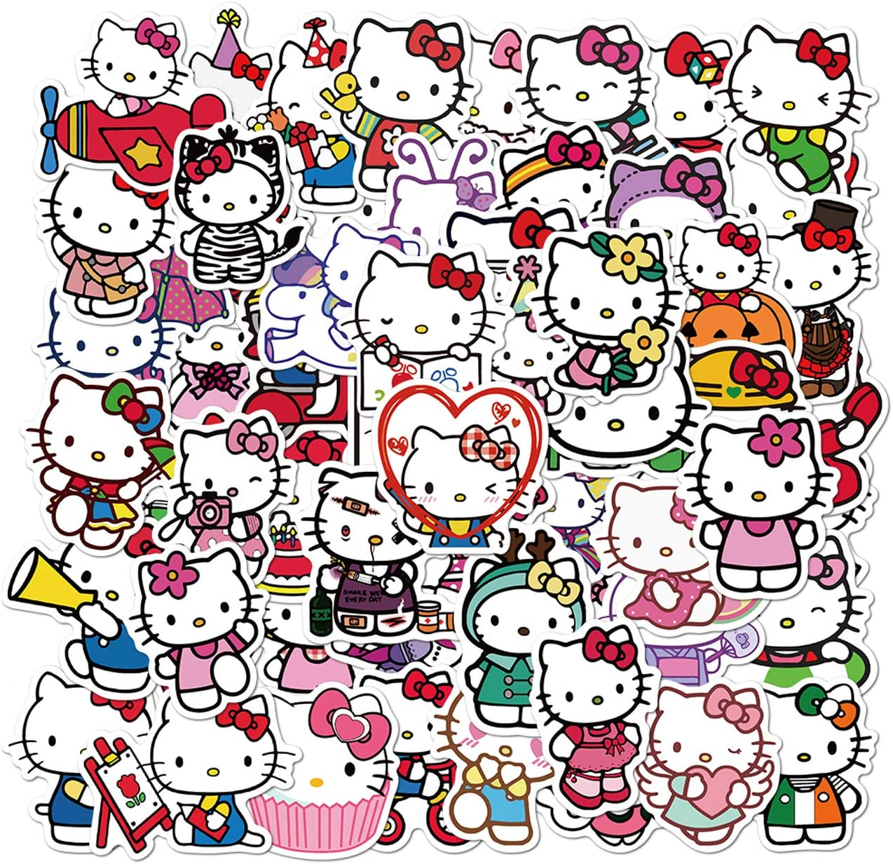 JIANGER Hello Kitty Stickers 100PCS Japanese Kawaii Stickers Vinyl Waterproof Stickers for Kids Teens Adults Laptop Water Bottles Skateboard Guitar