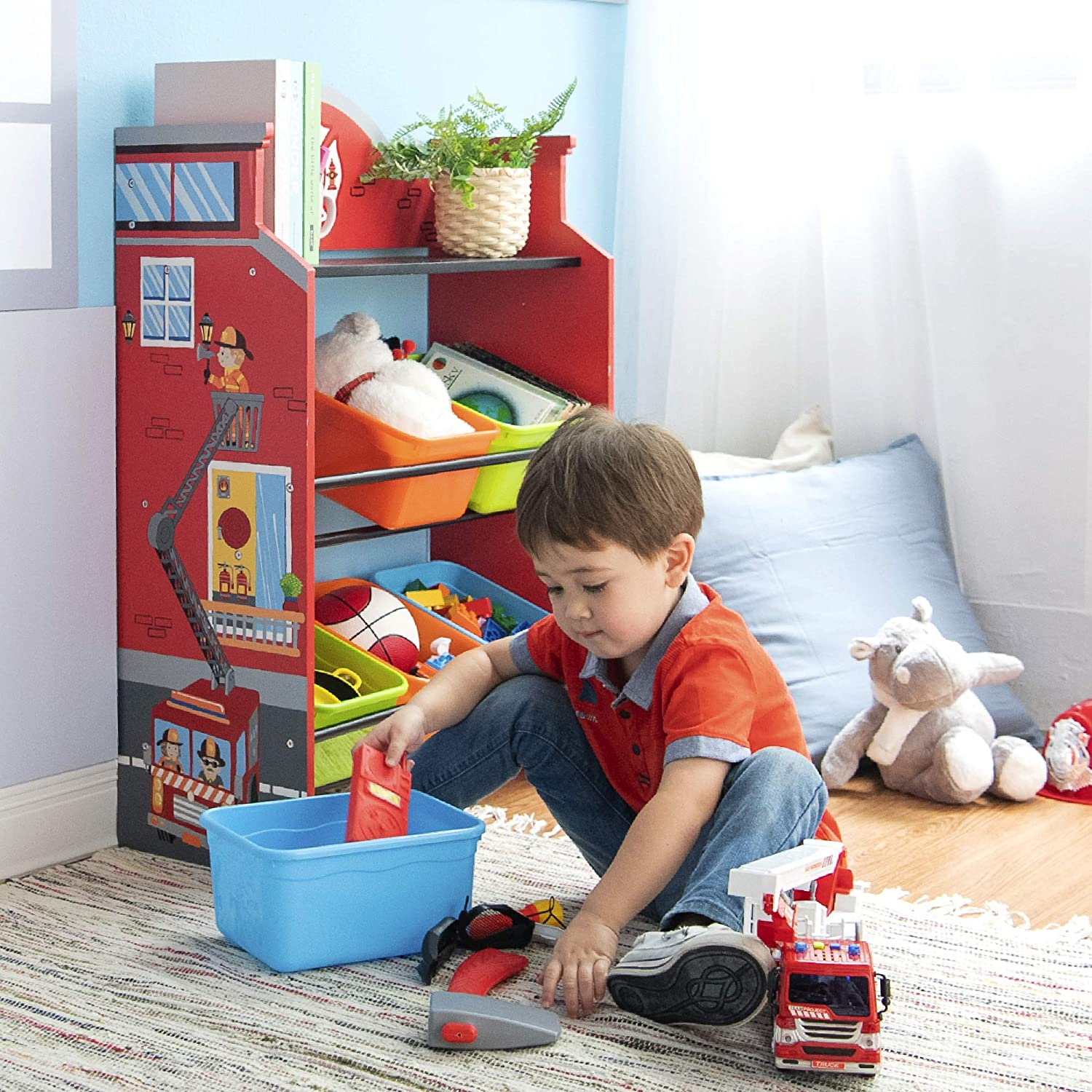 Fantasy Fields TD-13211A Red Toy Storage Shelf Little Firefighters Wooden Toy Organizers with 6 Removable Storage Bins