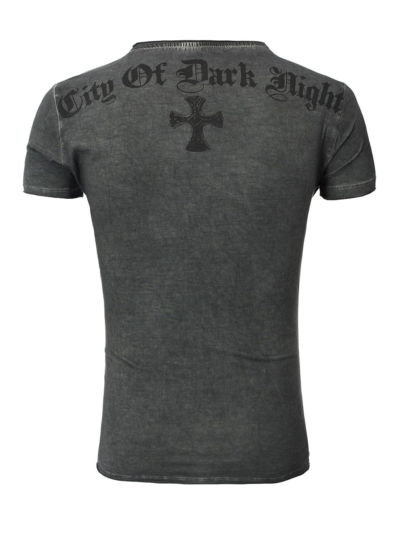 Key Largo Herren vintage Look T-Shirt Independent Kreuz Nieten Print v-neck  tiefer V-Ausschnitt Slimfit: Amazon.de: Bekleidung