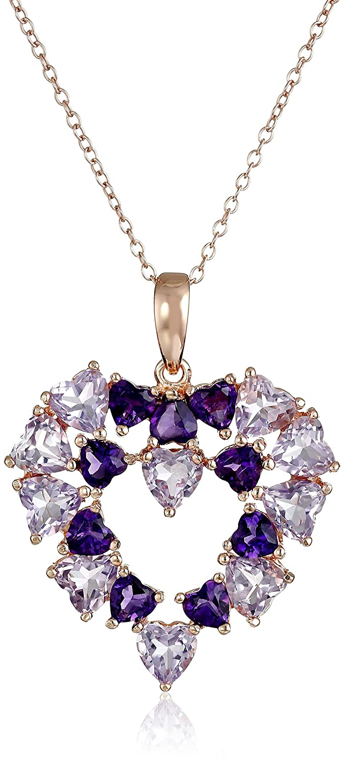 Rose Gold Plated Sterling Silver Brazilian Amethyst and African Amethyst Open Heart Pendant Necklace, 18""