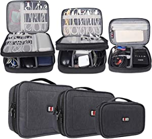 BUBM 3Pcs Universal Travel Cable Organizer Electronics Accessories Carry Bag for Cables, Cord, USB Flash Drive, Battery and More, Black