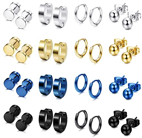 1cd67de01 FIBO STEEL 16 Pairs Stainless Steel Stud Earrings Hoop Earrings Set for Men  Women Huggie Hoop