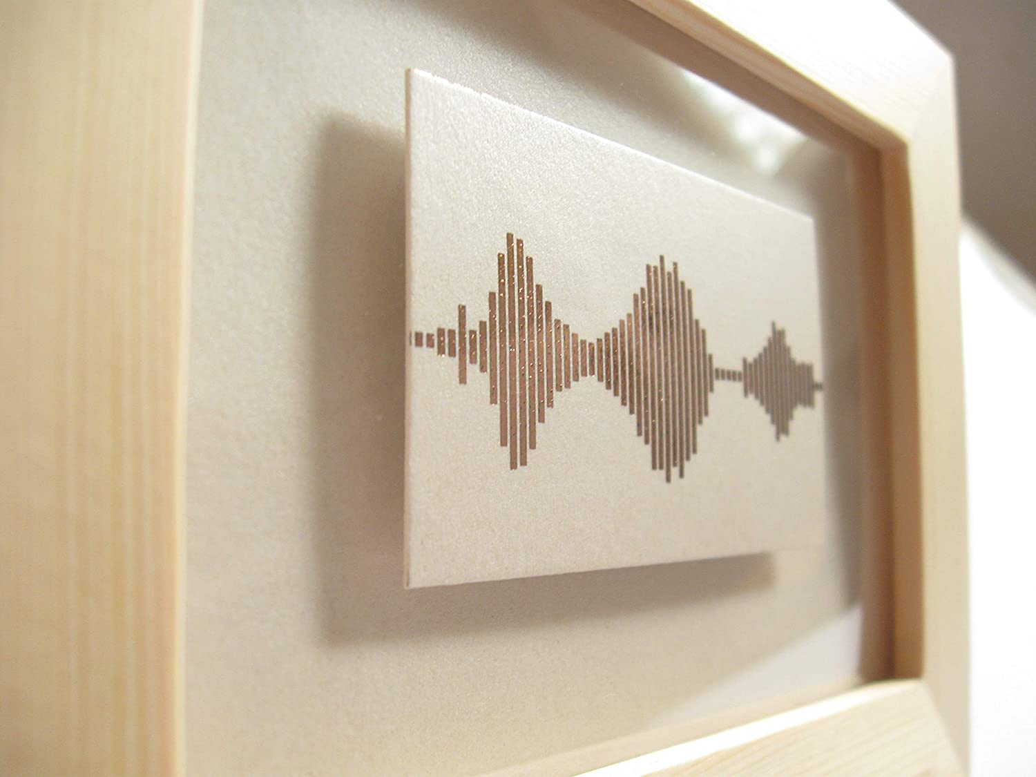 """3.5 x 5 inch Valentine Gifts for Mother /""""I Love You/"""" Rose Gold Foil Print Visible Voice Soundwave Art with Wood Frame"""