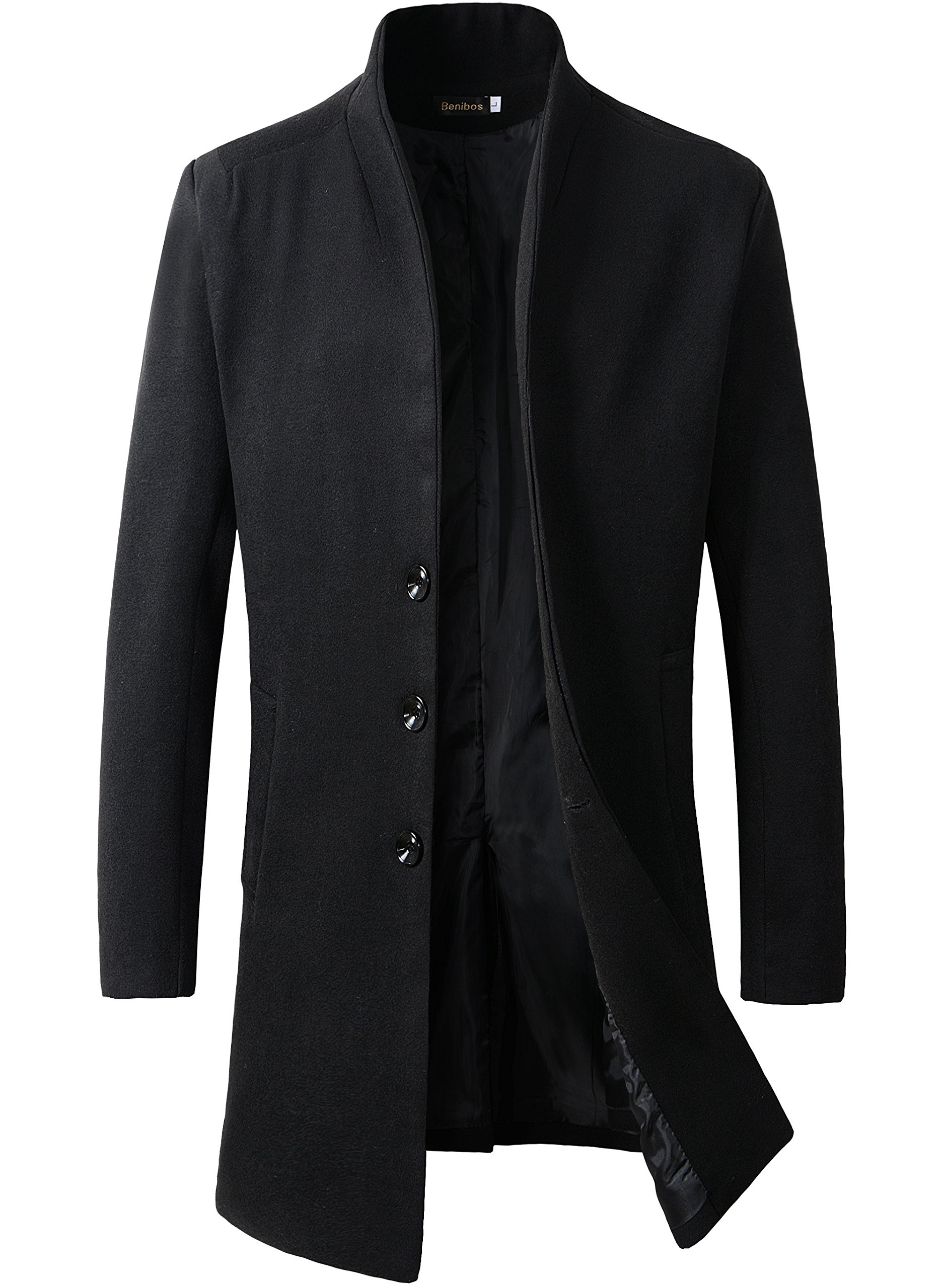 Benibos Men's Trench Coat Winter Long Jacket Button Closer Overcoat (M, 168Black)