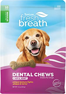 product image for Fresh Breath by TropiClean Dog Dental Care Hip & Joint Dental Chews for Dogs 25+ Pounds, 10ct - Helps Brush Away Plaque and Tartar — Made in the U.S.A.