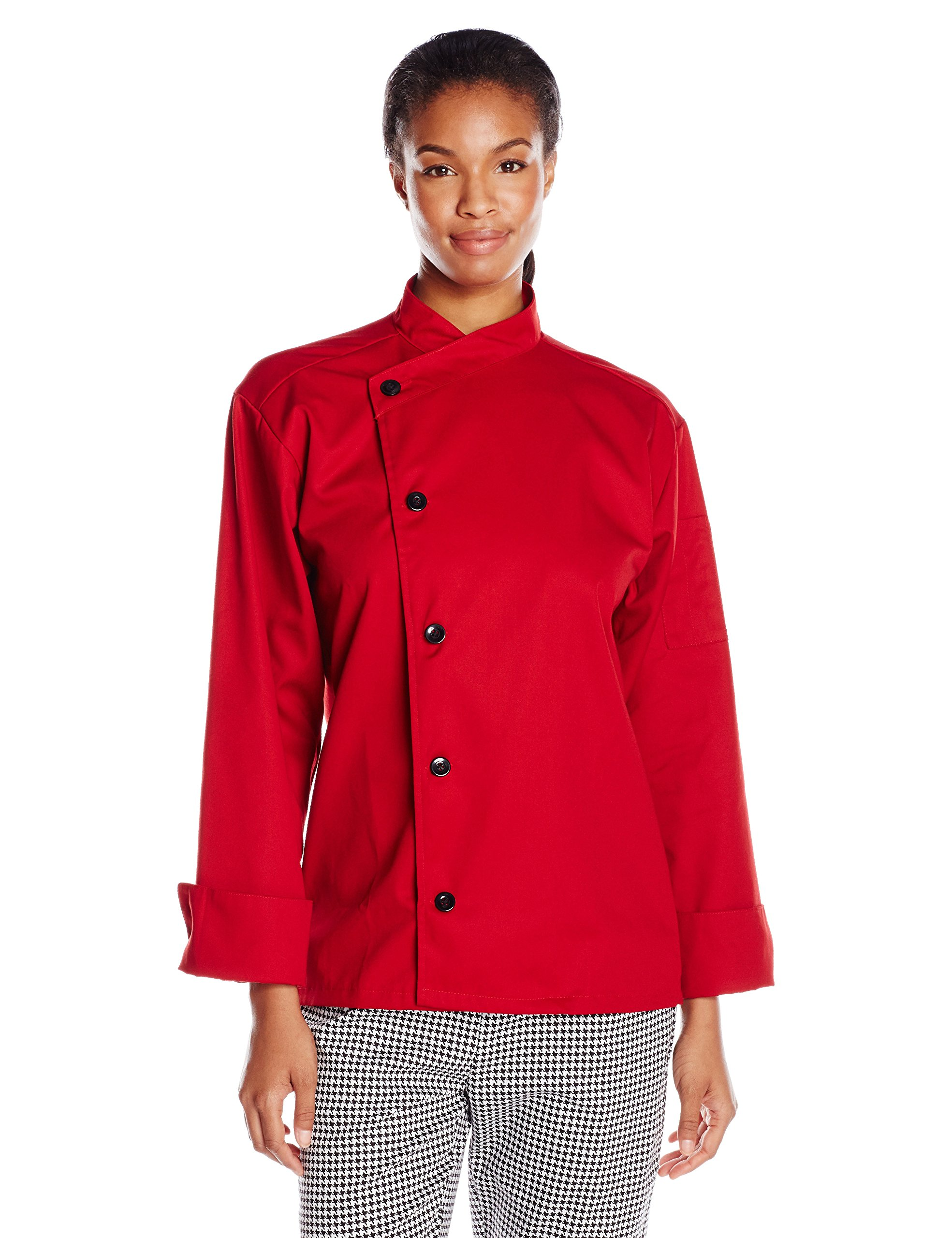Uncommon Threads Unisex Rio Chef Coat, Red, Small