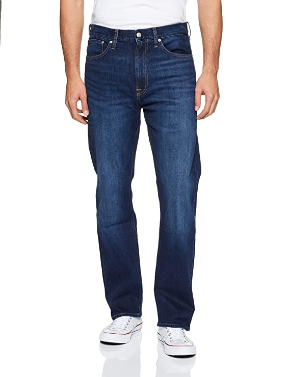 Calvin Klein Men's Relaxed Straight Jeans, Austin Dark Blue, 32x30 best men's denim jeans