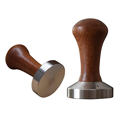 Home Dept Café Tamper Acero inoxidable 58 mm, soporte de base, mango de madera