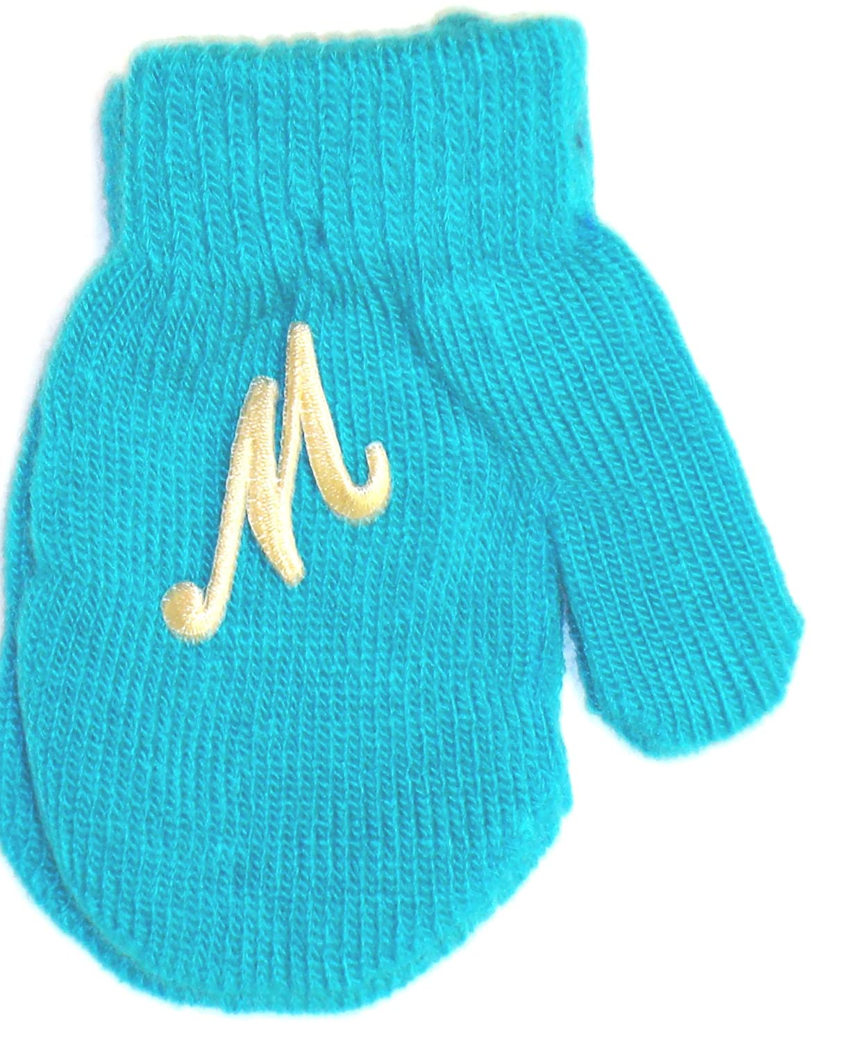 Blue Mitten with Chosen Ivory Monogram for Ages 0-12 Months.