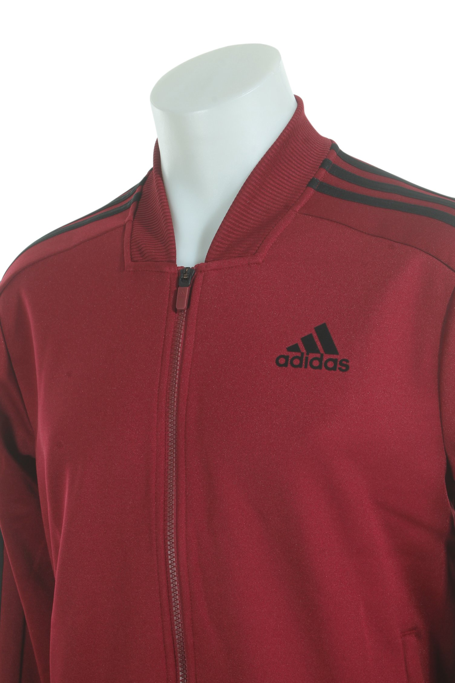 adidas Men's Sport ID Track Bomber Jacket Collegiate Burgundy Small by adidas (Image #3)