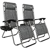 Bonnlo Infinity Zero Gravity Chair Pack 2, Outdoor Lounge Patio Chairs with Pillow and Utility Tray Adjustable Folding Reclin