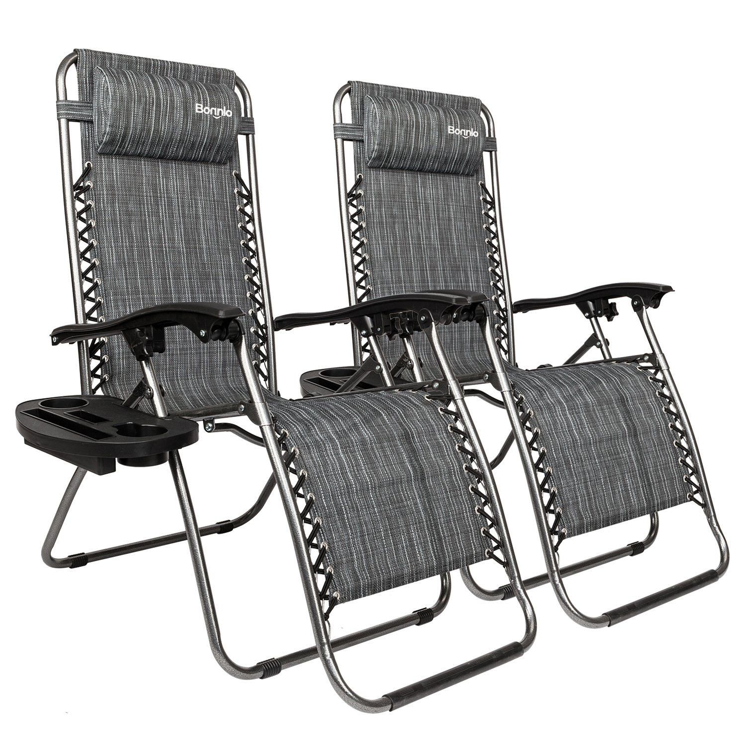 Bonnlo Infinity Zero Gravity Chair, Outdoor Lounge Patio Chairs with Pillow and Utility Tray Adjustable Folding Recliner for Deck,Patio,Beach,Yard Pack 2(Grey) by Bonnlo