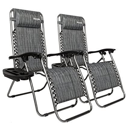 Bonnlo Infinity Zero Gravity Chair, Outdoor Lounge Patio Chairs With Pillow  And Utility Tray Adjustable