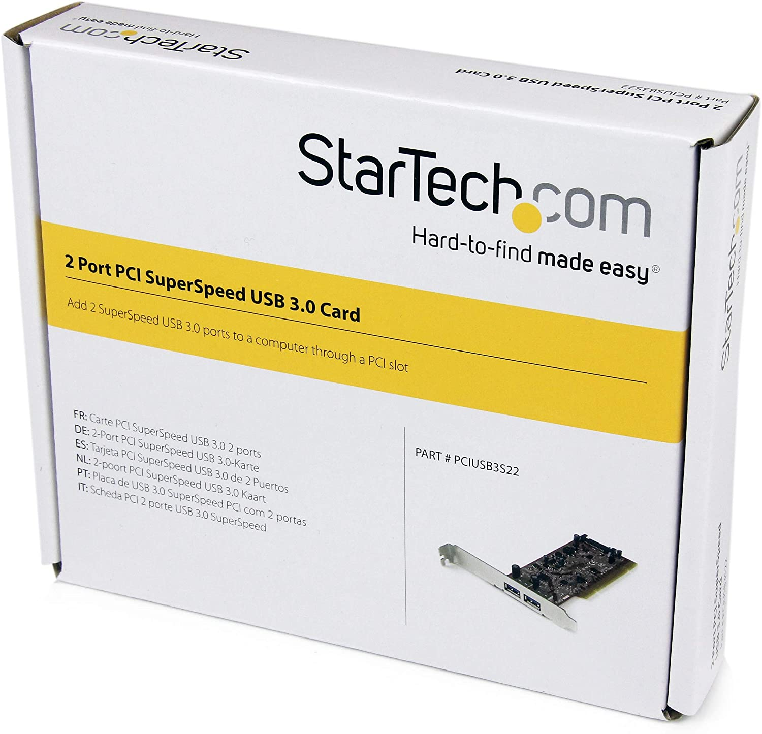 StarTech.com 2 Port PCI SuperSpeed USB 3.0 Adapter Card with SATA Power - Dual Port PCI USB 3 Controller Card (PCIUSB3S22)