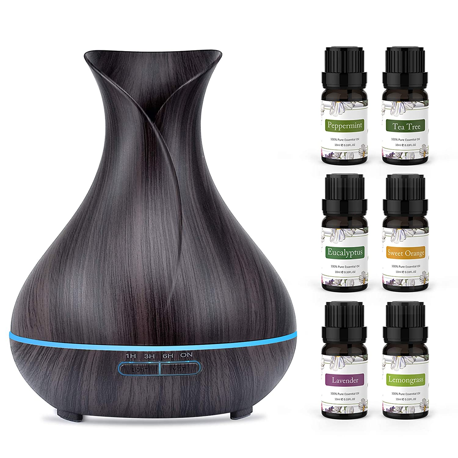 ASAKUKI 400ml Essential Oil Diffuser with 6 Bottles 10ml Pure Natural Essential Oils, 7 LED Color Changing Light and Auto Shut-Off