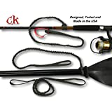 Campingandkayaking SALE! MADE IN THE USA! Paddle Leash with a 2 Rod Leash Set, 3 Leashes Total Plus 1 Carabiner.