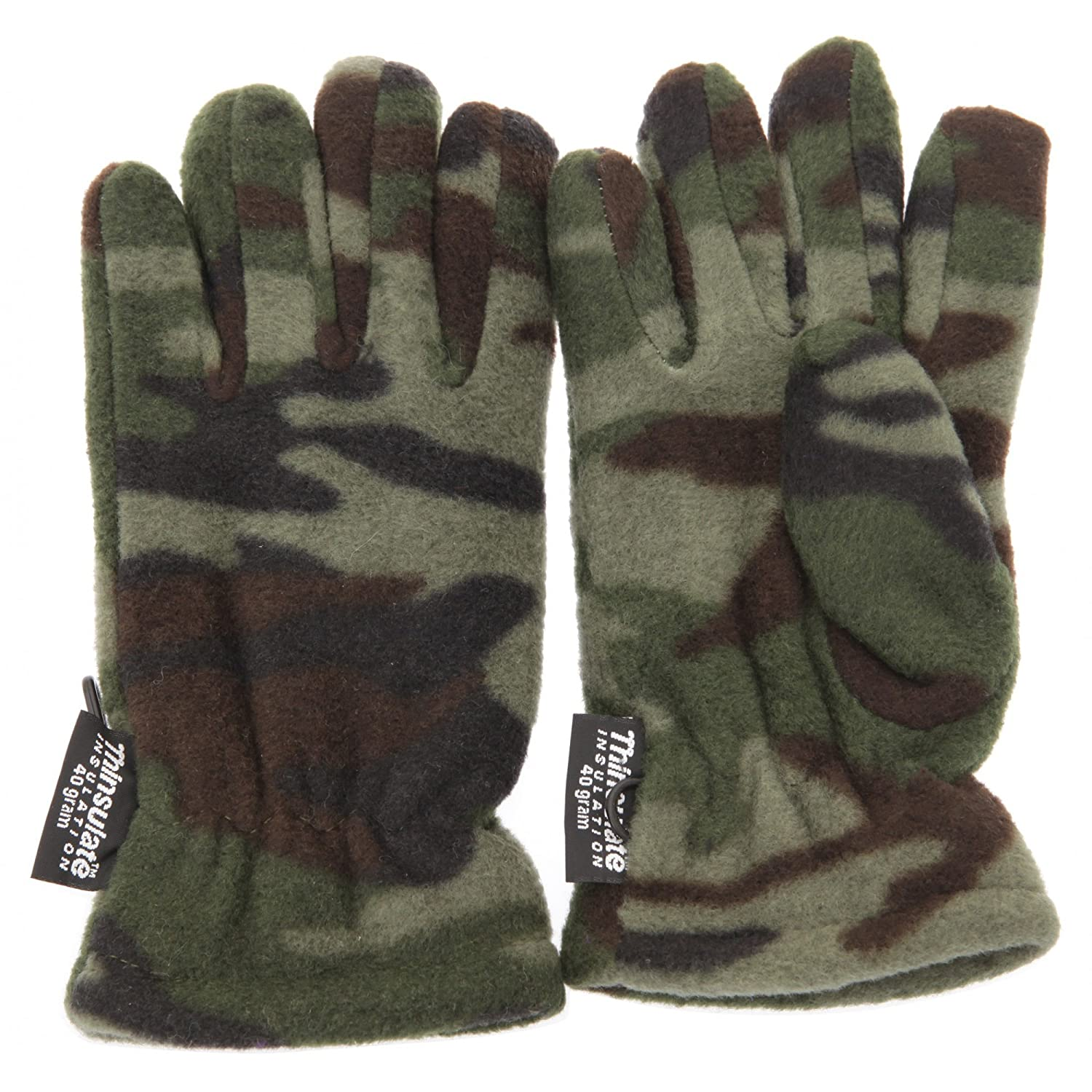 Childrens Boys Camouflage Thinsulate Thermal Winter Gloves /(3M 40g/) /(3-6 Years/) /(Green Camouflage/) Universal Textiles UTGL215/_1