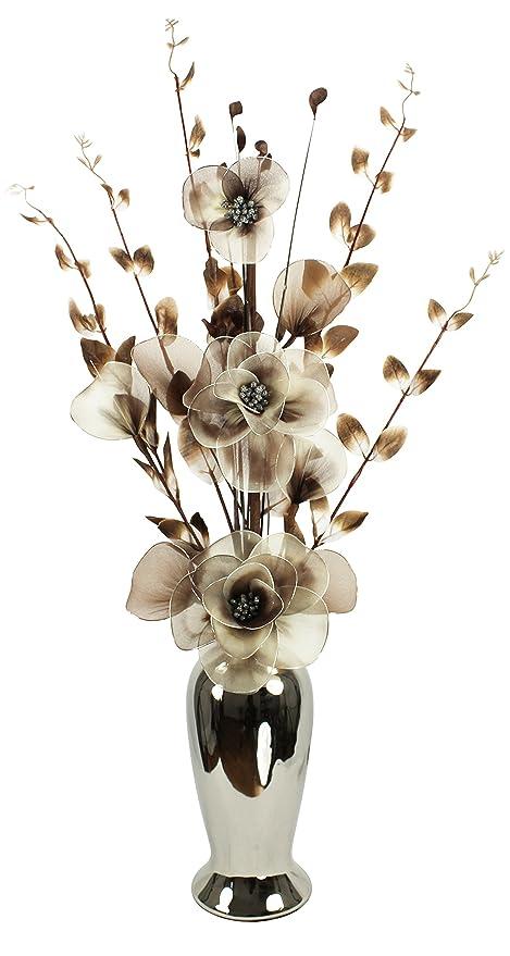 Flourish Artificial Flower In Chrome Vase Lime Greenblack 80 Cm