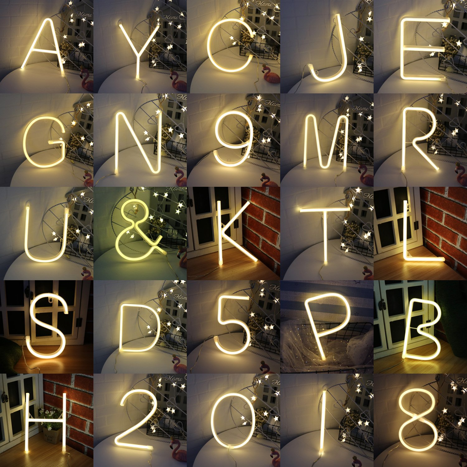 Light up LED Neon Letter Sign Ampersand Wall Decorative Neon Lights Warm White Alphabet Marquee Letter Lights Night Lamp for Home, Living Room, Birthday Wedding Party Decor - & by Obrecis (Image #5)