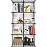 HOMFA DIY Wire Grid Bookcase Wire Storage Cubes Organizer 8 Cube Display Storage Shelf for Books Toys Clothes Tools Black