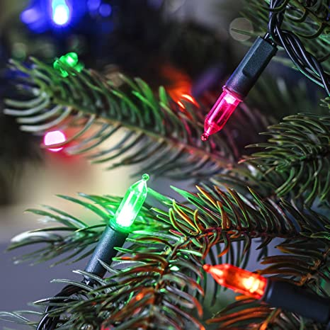 Lights4fun 150 Traditional Multi Coloured Led Christmas Tree Lights With Timer