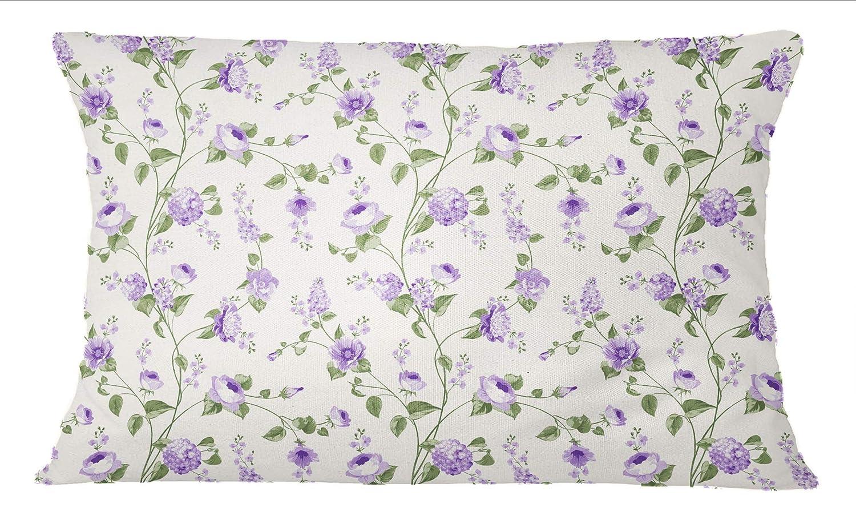 S4Sassy Floral Print 1 Paire Rose Pillow Sham Coton Popeline Housse de Coussin Decoratif pour la Maison-12 x 18 Pouces