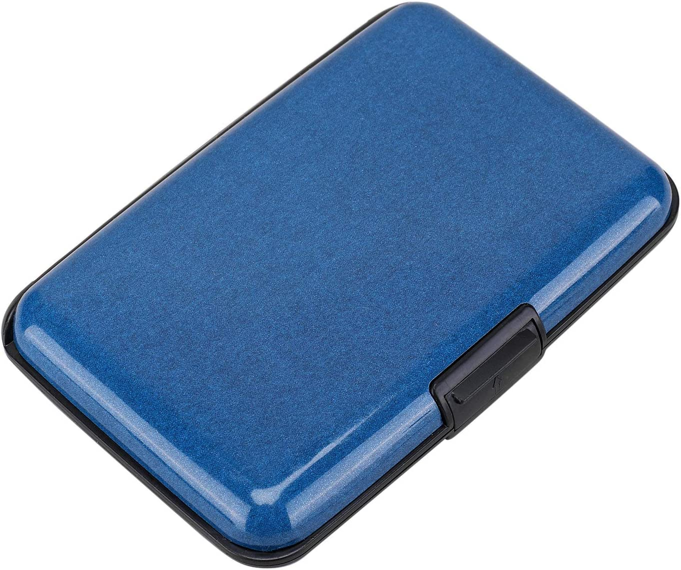 Elfish RFID Blocking Credit Card Protector Aluminum ID Case Hard Shell Business Card Holders Metal Wallet for Men or Women (dark blue)