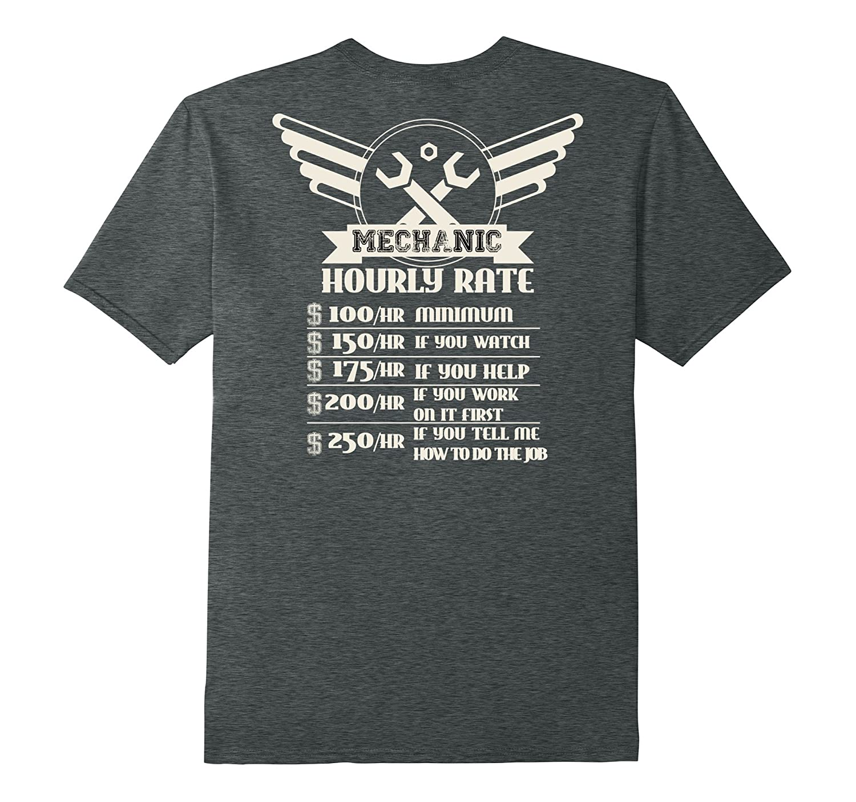 Backside Funny Mechanic Hourly Rate Distressed Design Shirt-FL