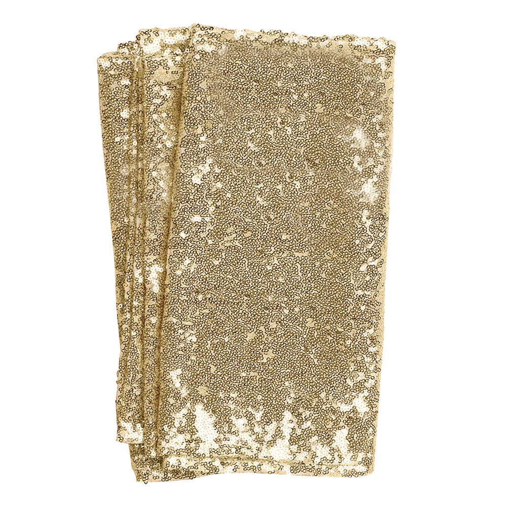 Ling's moment Sparkly Sequin Table Runner Champagne 12 x 108 Inch (Hem Edge) for Thanksgiving Christmas Wedding Engagement Party Bridal Baby Shower Dresser Decorations