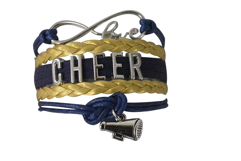 Cheer Charm Bracelet- Girls Infinity Love Adjustable Cheerleading Jewelry in Team Colors For Cheerleader Sportybella