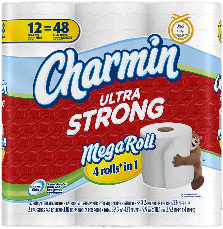 Charmin Ultra Strong Toilet Paper 12 Mega Rolls = 48 Regular Rolls PG-5858