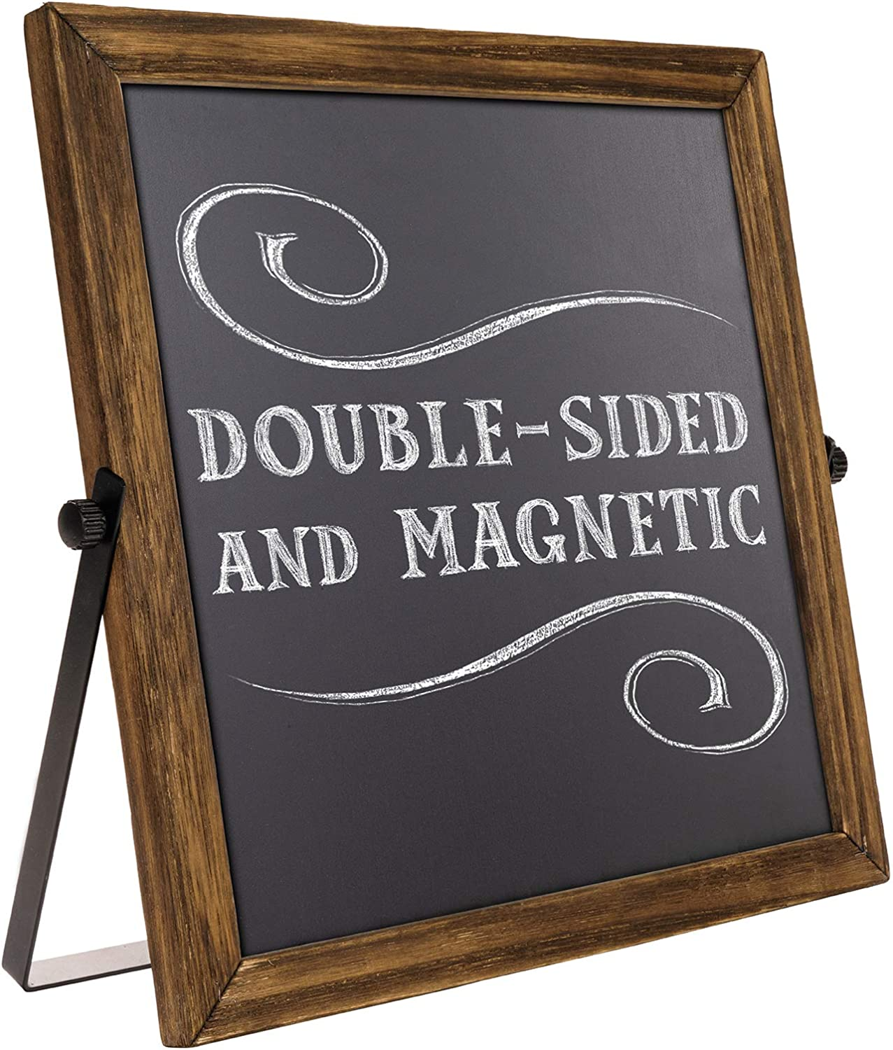 Rustic Chalkboard Sign Wooden Frame with Adjustable Stand Menu Message Board Double Sided Display Magnetic Surface Reversible 11 x 11 Inches