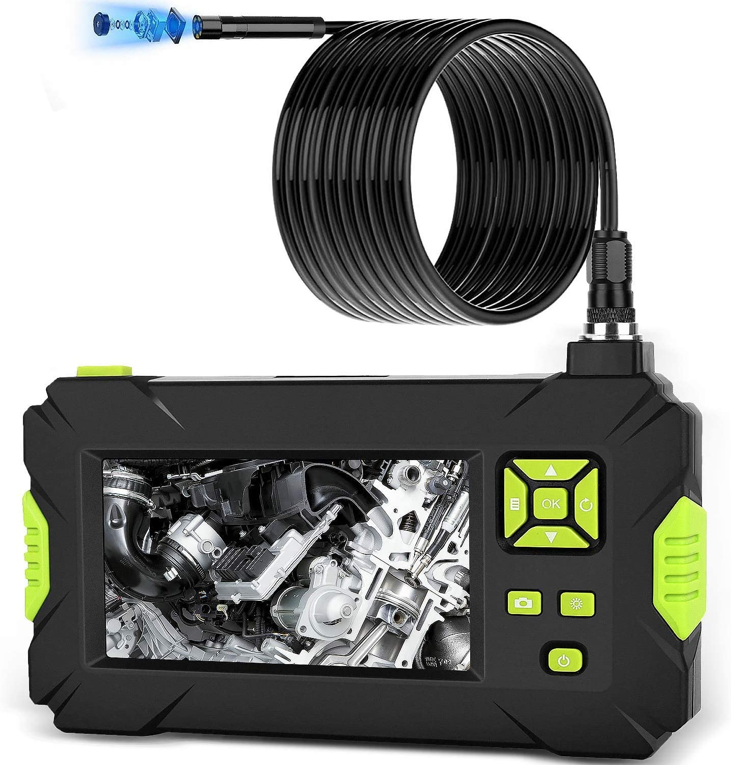 4.5 Inches HD IP67 Waterproof Industrial Endoscope Borescope 1080P Display IPS Screen 32 GB Card 9.84 FT Cable 6 LED Lights with Dual Lens YUNSHAO 8mm Inspection Camera