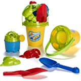 Summer Fun 6 Piece Children's Kid's Mini Toy Beach/Sandbox Tool Play set, Comes with Watering Bucket, Hand Tools, Sand Molds (Colors May Vary)