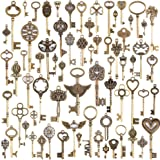 JuanYa Wholesale 69 Pieces Antique Bronze Vintage Skeleton Mixed Key Charms Necklace Pendant for DIY Jewelry Making