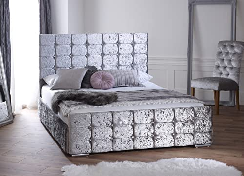 LUXURY CHESTERFIELD STYLE BED IN CRUSHED VELVET IN
