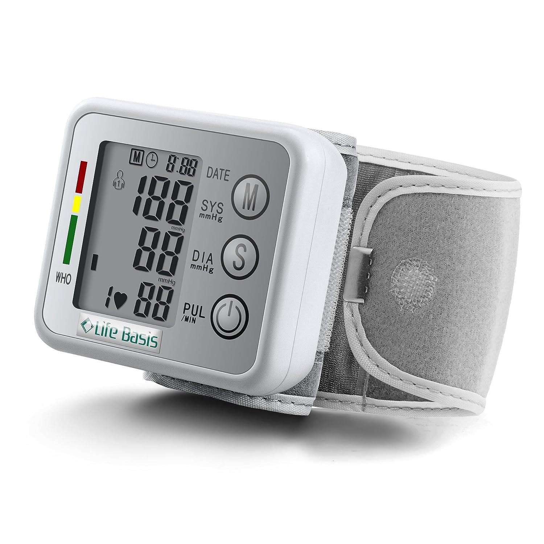 LifeBasis Tensiómetro de muñeca electrónico Monitor de Tensión Básico para Medir Tensión Arterial Ritmo Cardíaco Hipertensión Medidor de Tensión ...