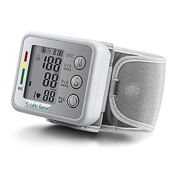 LifeBasis Tensiómetro de muñeca electrónico Monitor de Tensión Básico para Medir Tensión Arterial Ritmo Cardíaco Hipertensión