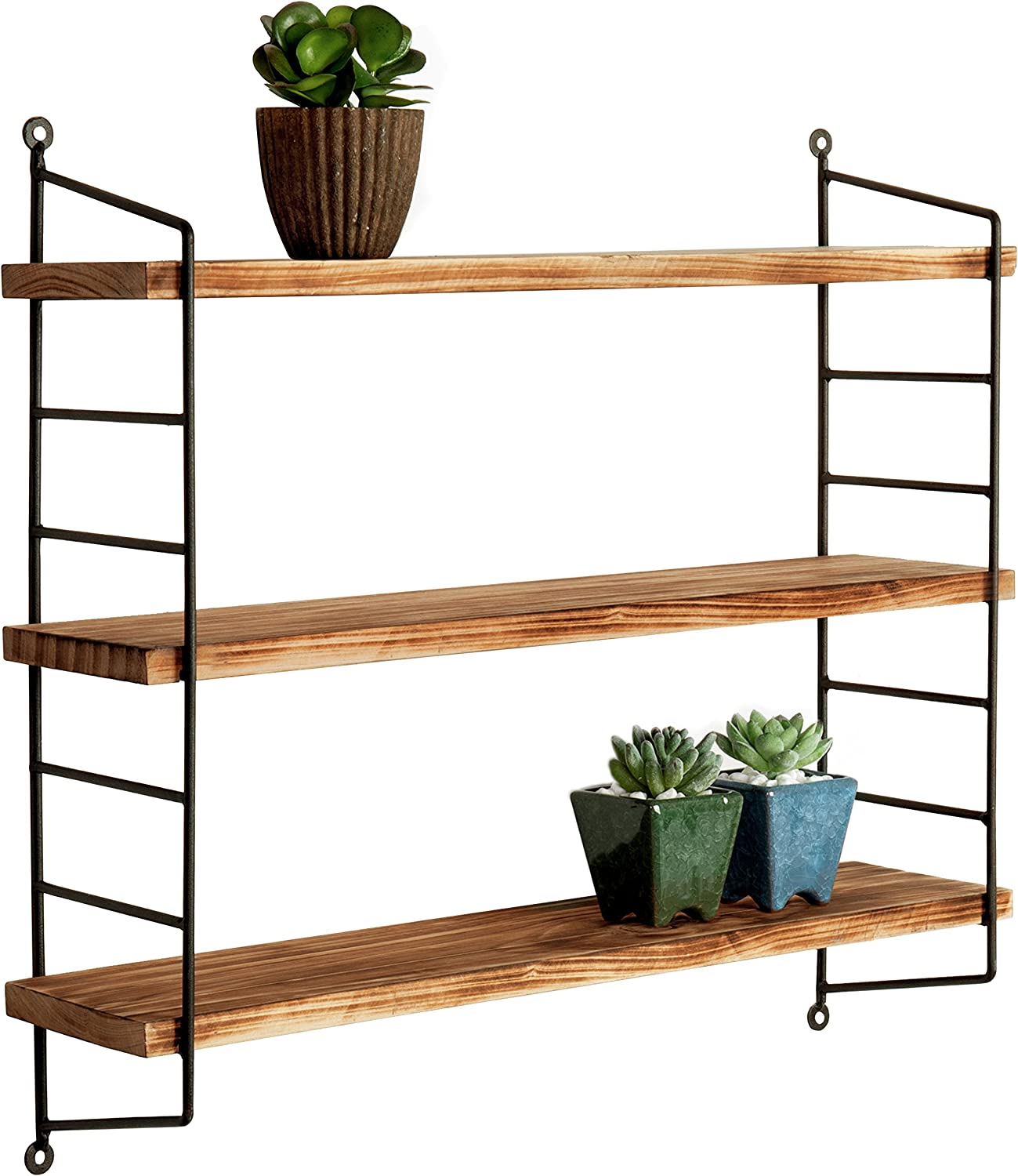 Amazon Com 23 Inch Modern Industrial Metal And Torched Wood Adjustable Wall Mounted 3 Tier Display Floating Shelf Home Kitchen