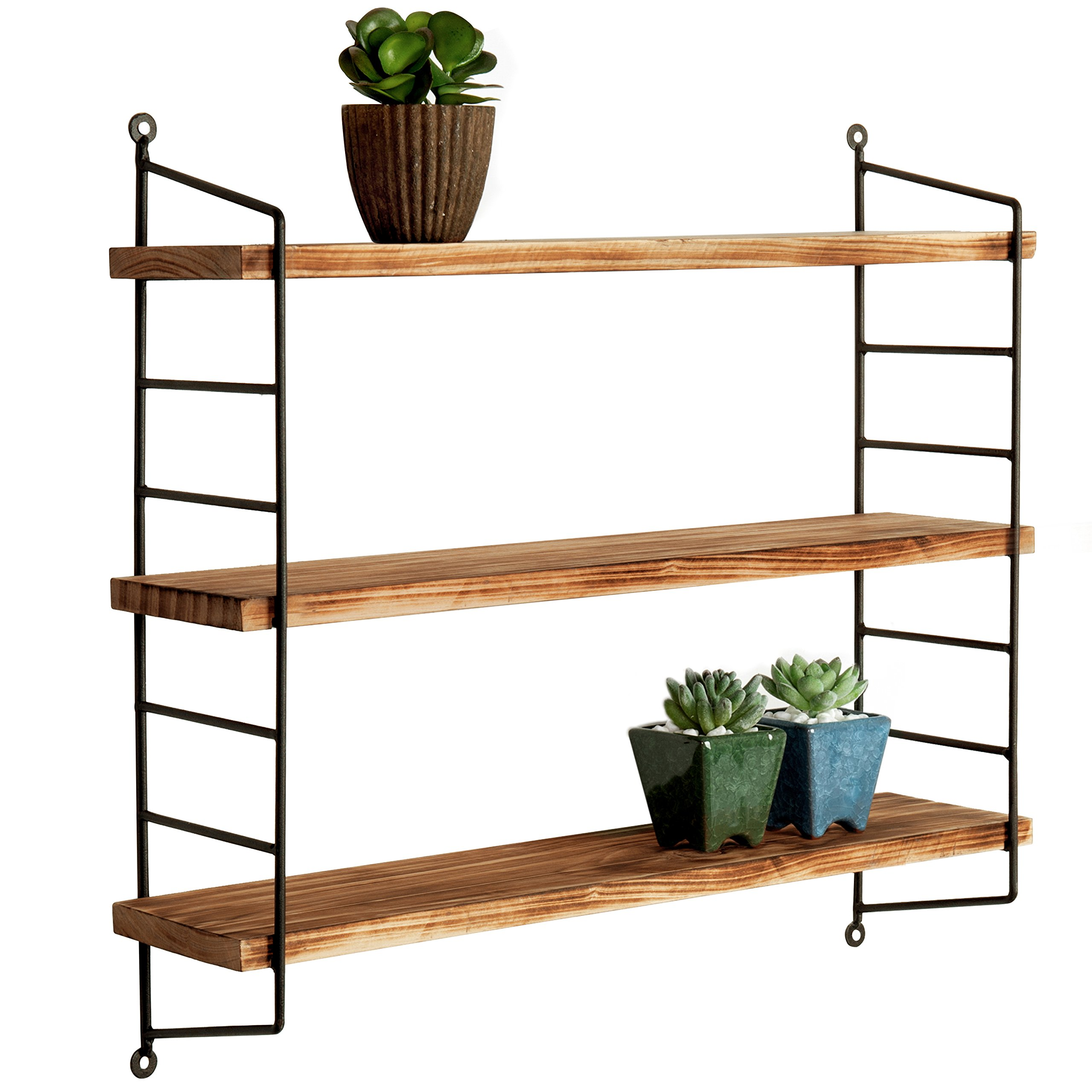 MyGift Modern Industrial Metal & Torched Wood Adjustable Wall Mounted 3-Tier Shelf