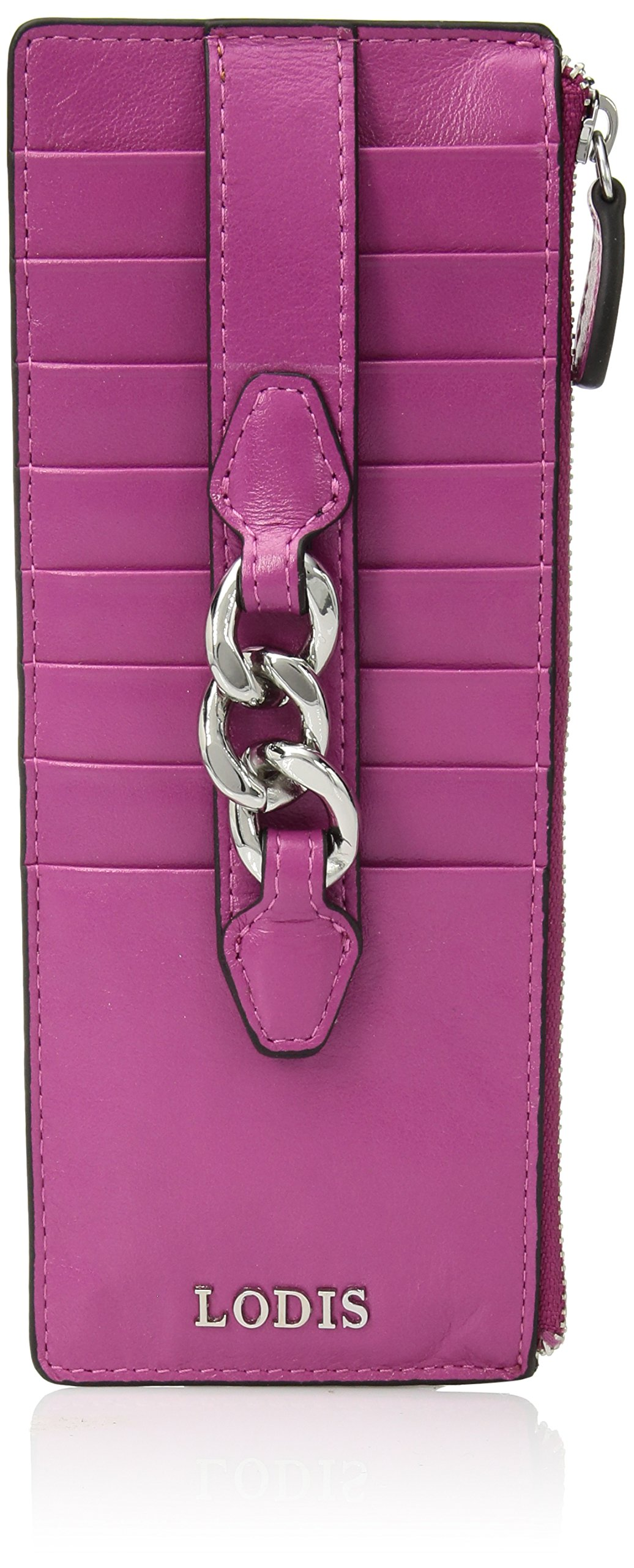 Lodis Rodeo Chain Credit Card Case with Zipper Pocket, fuchsia
