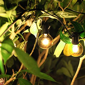 Clear Globe Bulbs String Lights,25ft G40 OxyLED Patio String Lights,Waterproof,  End