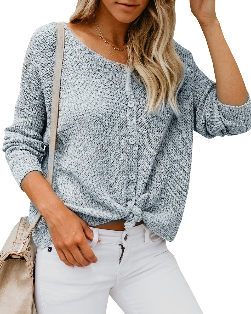 Womens Sweaters Off The Shoulder Tie Front Button Down Knit Jumper Top Cardigan Sweater