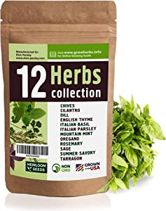 12 Culinary Herb Seeds Variety - USA Grown for Indoor or Outdoor Garden - Heirloom and Non GMO - Italian Basil, Parsley, Cilantro, Mint, Chives, Thyme, Oregano, Tarragon, Dill, Rosemary, Sage & More