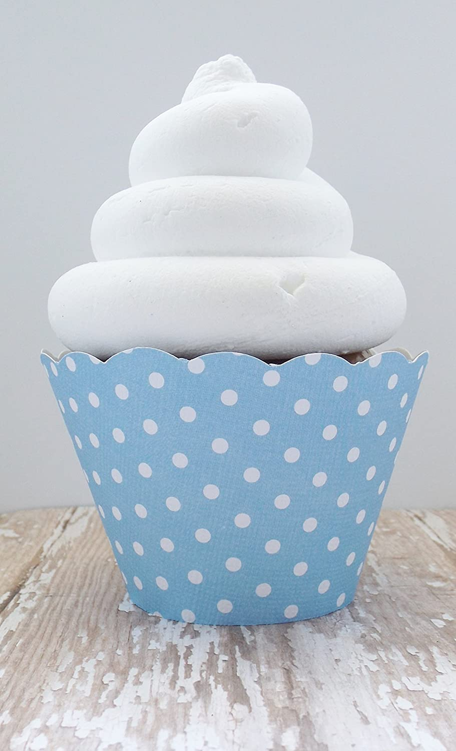 Light Blue and White Polka Dot Cupcake Wrappers - Standard and Mini Sized Holders - Set of 12