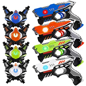 HISTOYE Infrared Laser Tag Guns Sets of 4 Players Game Laser Tag Sets with Gun and Vest Indoor Outdoor Toy Gun Battle Blasters for Boys Toys Age 4 5 6 7 8 9 10+ Gifts for 12 Year Old Boy